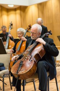 Evergreen Chamber Orchestra's principal cellist Mike Maracek